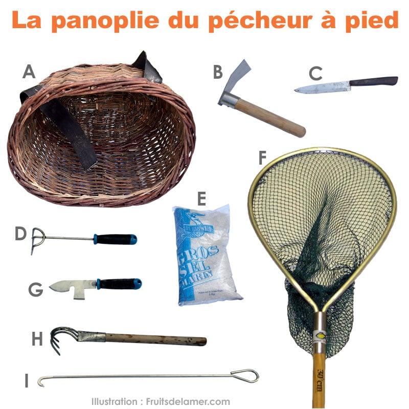 pêche à pied outil panoplie matériel nécessaire